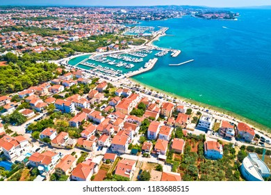 City of Zadar waterfront aerial summer view, Dalmatia region of Croatia