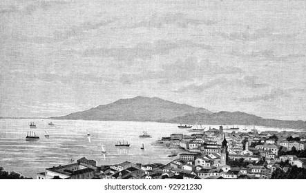"""The city of Zante (Greece) before the earthquake. Engraving by Rashevsky. Published in magazine """"Niva"""", publishing house A.F. Marx, St. Petersburg, Russia, 1893"""