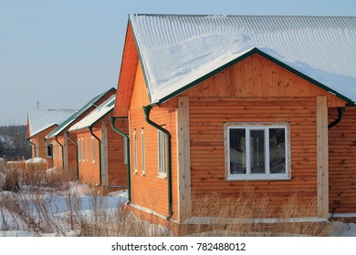 City of Zavodoukovsk, Tyumen region, Russia, January 7, 2013: Wooden street. New homes for young people.