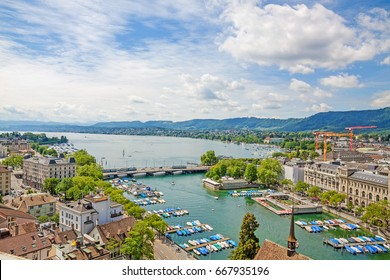 City of Zurich, river Limmat and Lake Zurich (Zurichsee)