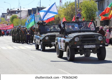 City Zyalutorovsk, Tyumen region, Russia, May 9, 2016: Fighters and veterans of the Airborne Forces in the UAZ. On the parade on Victory Day.