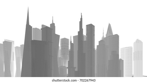 City,architecture abstract, 3d illustration