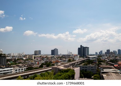 The citycape in bangkok of Thailand, Cityscape in daylight with white cloud, the background for business concept.