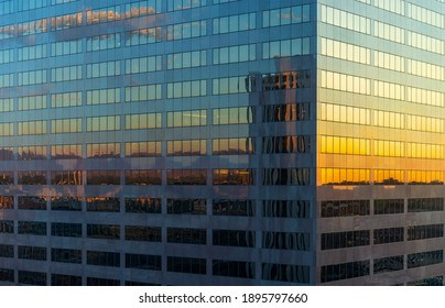 Citycape reflection of Denver downtown at sunrise, Colorado, United States of America (USA).