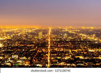 The citylights of Los Angeles by night - aerial view - travel photography