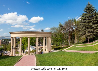 The city-resort of Kislovodsk, an architectural monument - a cascading staircase (1934) in the center of the city. Entrance to the spa park.