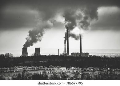 City's smog. Enviroment problems with factory.
