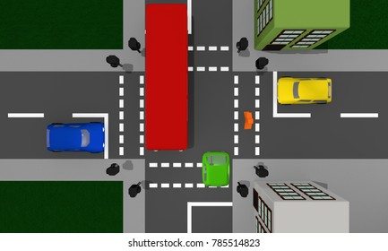 Cityscape from above: intersection with traffic lights and colorful cars. 3d rendering