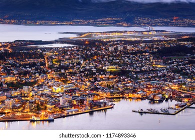 cityscape aerial view of Tromso, Norway, at twilight