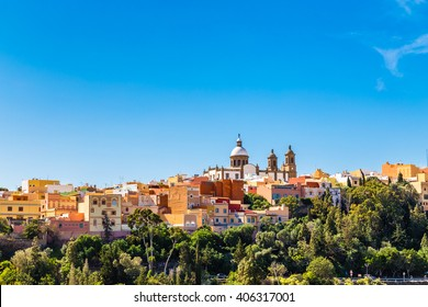 Cityscape Of Aguimes With Landmark Of Parish Church of San Sebastian - Aguimes, Gran Canaria, Canary Island, Spain, Europe