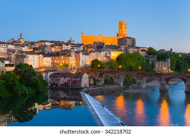 Cityscape of Albi at night