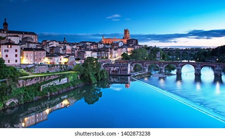 Cityscape of Albi at night in France