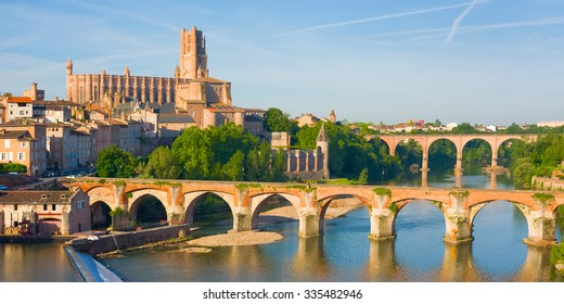 Cityscape of Albi in a summer evening