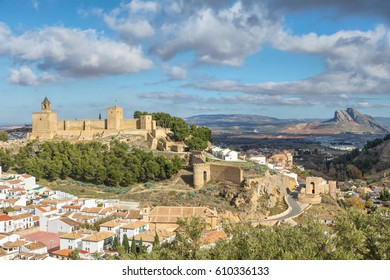 Cityscape of Antequera with moorish fortress Alcazaba, Malaga province, Andalusia, Spain