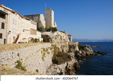 Cityscape of Antibes, France view to old city and sea