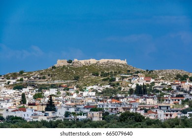 Cityscape of Archangelos with the castle in the background, Rhodes island, Greece