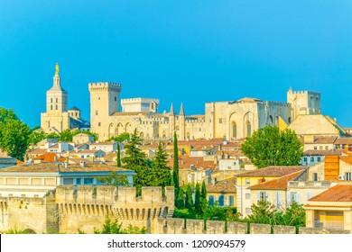 Cityscape of Avignon with Palais des Papes and Cathedral of Our Lady, France