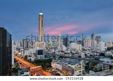 Cityscape with Baiyok tower in Bangkok
