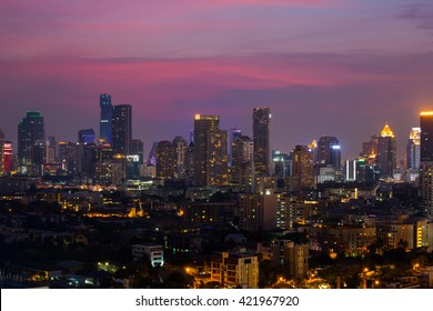 Cityscape of Bangkok, Business area in the evening