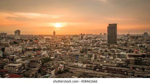 Cityscape of Bangkok city before sunset