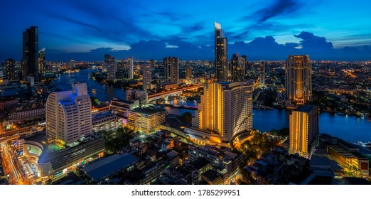 Cityscape in Bangkok city  with Chao phraya river background, this image can use for Bangkok, Thailand, Night, tourist and asia concept.