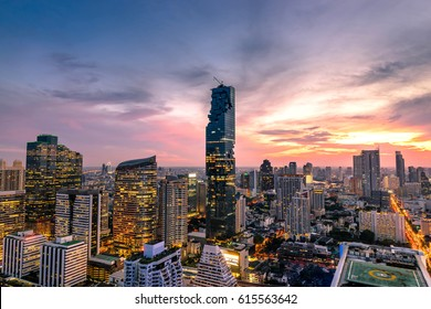 Cityscape of Bangkok city at night  , Thailand .
