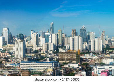 cityscape of Bangkok city skyline with blue sky background, Bangkok city is modern metropolis of Thailand and favorite of tourists