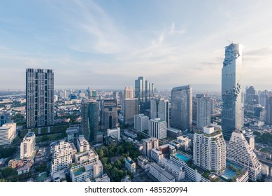Cityscape Bangkok modern office buildings, condominium in Bangkok city downtown with sunset sky , Bangkok , Thailand