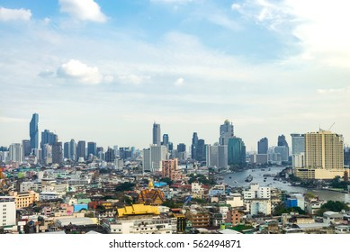 cityscape Bangkok skyline, Thailand. Bangkok is metropolis and favorite of tourists live at between modern building / skyscraper, Community residents and various religions buildings are peacefully