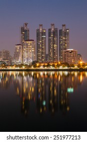 Cityscape of Bangkok, Thailand at dusk