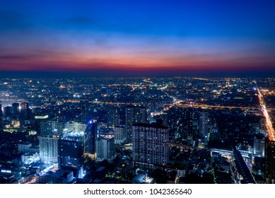 Cityscape of Bangkok, Thailand at night