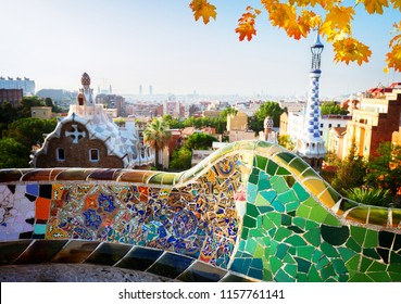 cityscape of Barcelona from park Guell, Spain at fall