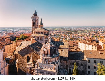 Cityscape with Basilica of Santa Maria Maggiore in Citta Alta in Bergamo in Lombardy in Italy. Old town is called Upper City.