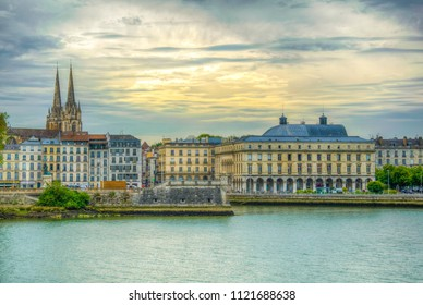 Cityscape of Bayonne dominated by the cathedral of Saint Mary, France