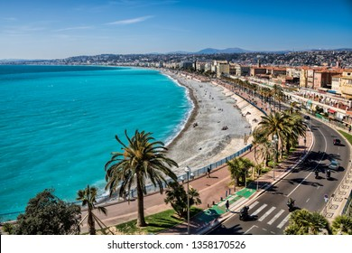 cityscape with beach in Nice, France