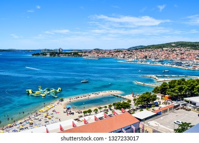 The cityscape and beach of Vodice resort town, Croatia.