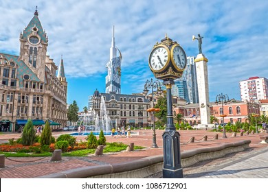 Cityscape with beautiful architecture. Europe square in Batumi.