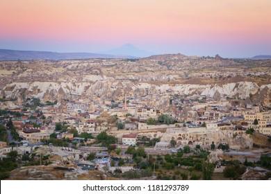 Cityscape of beautiful Goreme at Dusk, Turkey
