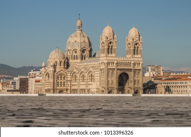 cityscape. beautiful view of famous Marseille Cathedral la Major - Cathedrale Sainte-Marie-Majeur, seats on the Archdiocese of Marseille