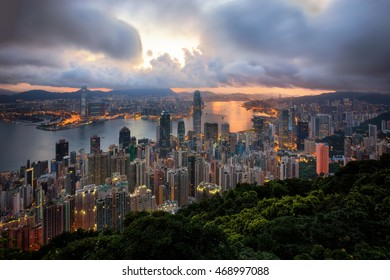 Cityscape before sunrise from top view of mountain in Hongkong