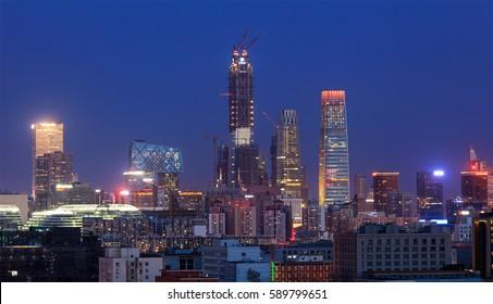 Cityscape of Beijing city at dusk. Beijing, China