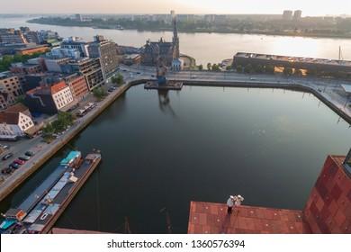 Cityscape of the Belgian city of Antwerp and view to Bonapartedok seen from MAS museum, Museum aan de Stroom