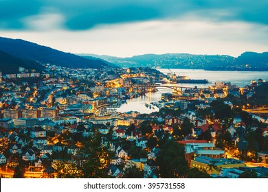 Cityscape Of Bergen City And Harbor From Mountain Top, Norway.