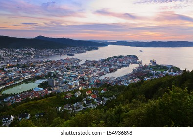 Cityscape of Bergen Norway - architecture background