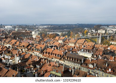Cityscape of Bern in autumn viewing from Bell tower of Bern Cathedral (Munster of Bern), Old City of Bern, Switzerland