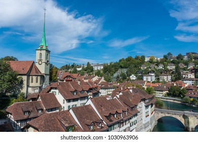Cityscape of Bern historic center, with the church and the old houses