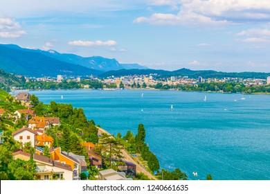 Cityscape of Biel/Bienne behind Bielersee in Switzerland