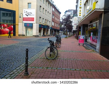 Cityscape of bikes in the streets of Aachen, Aachen, Germany, 30.08.2018