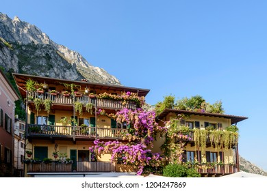cityscape with blossoming picturesque houses in historical touristic village on Garda lake