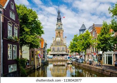 The cityscape blue sky in Alkmaar with Waagplein the signature of Alkmaar